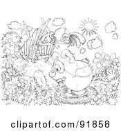Royalty Free RF Clipart Illustration Of A Black And White Bunny And Bear Coloring Page Outline