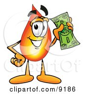 Clipart Picture Of A Flame Mascot Cartoon Character Holding A Dollar Bill