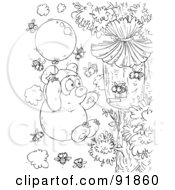 Royalty Free RF Clipart Illustration Of A Black And White Bear And Bees Coloring Page Outline
