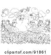Royalty Free RF Clipart Illustration Of A Black And White Bear And Bunny In A Garden Coloring Page Outline