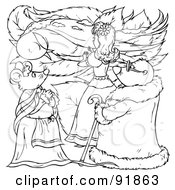 Royalty Free RF Clipart Illustration Of A Black And White Thumbelina Coloring Page Outline 8