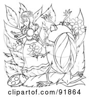 Royalty Free RF Clipart Illustration Of A Black And White Thumbelina Coloring Page Outline 4