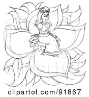 Royalty Free RF Clipart Illustration Of A Black And White Thumbelina Coloring Page Outline 1