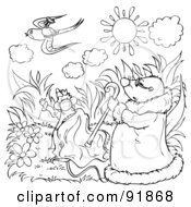 Royalty Free RF Clipart Illustration Of A Black And White Thumbelina Coloring Page Outline 10