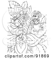 Royalty Free RF Clipart Illustration Of A Black And White Thumbelina Girl Coloring Page Outline 2