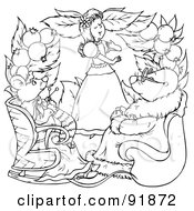 Royalty Free RF Clipart Illustration Of A Black And White Thumbelina Coloring Page Outline 7