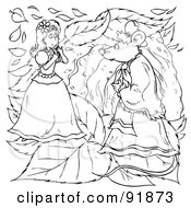 Royalty Free RF Clipart Illustration Of A Black And White Thumbelina Coloring Page Outline 6