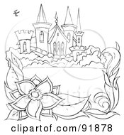 Royalty Free RF Clipart Illustration Of A Black And White Castle Coloring Page Outline