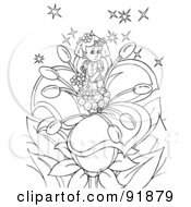 Royalty Free RF Clipart Illustration Of A Black And White Thumbelina Girl Coloring Page Outline 1
