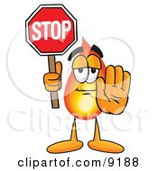 Clipart Picture Of A Flame Mascot Cartoon Character Holding A Stop Sign by Toons4Biz