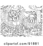 Royalty Free RF Clipart Illustration Of A Black And White Snow White Coloring Page Outline 5 by Alex Bannykh