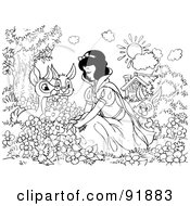 Royalty Free RF Clipart Illustration Of A Black And White Snow White Coloring Page Outline 4
