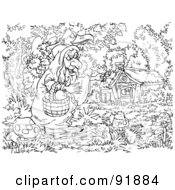 Royalty Free RF Clipart Illustration Of A Black And White Snow White Coloring Page Outline 3 by Alex Bannykh