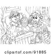 Royalty Free RF Clipart Illustration Of A Black And White Little Red Riding Hood Coloring Page Outline 3