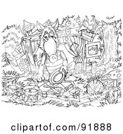 Royalty Free RF Clipart Illustration Of A Black And White Three Little Pigs And The Big Bad Wolf Coloring Page Outline 4