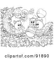Royalty Free RF Clipart Illustration Of A Black And White Three Little Pigs And The Big Bad Wolf Coloring Page Outline 3 by Alex Bannykh