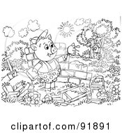 Black And White Three Little Pigs And The Big Bad Wolf Coloring Page Outline - 1