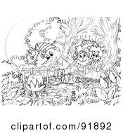 Royalty Free RF Clipart Illustration Of A Black And White Pinocchio Coloring Page Outline 1