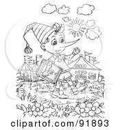 Royalty Free RF Clipart Illustration Of A Black And White Pinocchio Coloring Page Outline 3 by Alex Bannykh