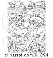 Royalty Free RF Clipart Illustration Of A Black And White Pinocchio Coloring Page Outline 2 by Alex Bannykh