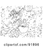 Royalty Free RF Clipart Illustration Of A Black And White Astronomer Coloring Page Outline