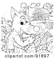 Royalty Free RF Clipart Illustration Of A Black And White Wolf Watching A Cottage Coloring Page Outline