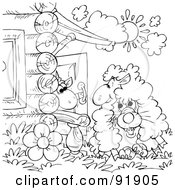 Royalty Free RF Clipart Illustration Of A Black And White Wolf In Sheeps Clothing Coloring Page Outline