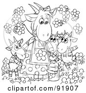 Royalty Free RF Clipart Illustration Of A Black And White Mother And Child Goats Coloring Page Outline