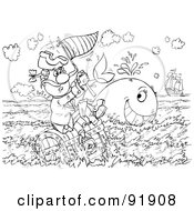Royalty Free RF Clipart Illustration Of A Black And White Man And Whale Coloring Page Outline