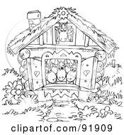 Royalty Free RF Clipart Illustration Of A Black And White Goats In A House Coloring Page Outline by Alex Bannykh