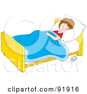 Royalty Free RF Clipart Illustration Of A Boy Sleeping In Bed With A Remote Control On The Floor