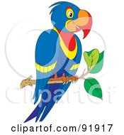Royalty Free RF Clipart Illustration Of A Blue Parrot Perched On A Branch