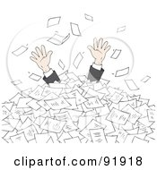 Royalty Free RF Clipart Illustration Of A Business Mans Hands Reaching For Help From A Pile Of Paperwork