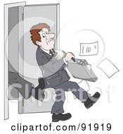 Royalty Free RF Clipart Illustration Of A Managers Boot Kicking Out An Applicant Salesman Or Employee by Alex Bannykh