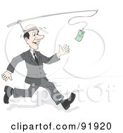 Royalty Free RF Clipart Illustration Of A Business Man Running After A Cash Bonus Attached To A Pole On His Head