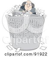 Bald Businessman With Paperwork In A Trash Bin