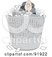 Royalty Free RF Clipart Illustration Of A Bald Businessman With Paperwork In A Trash Bin by Alex Bannykh