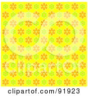 Royalty Free RF Clipart Illustration Of A Green Orange And Yellow Floral Background 1 by tdoes