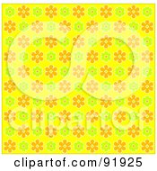 Royalty Free RF Clipart Illustration Of A Green Orange And Yellow Floral Background 2 by tdoes