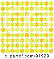 Royalty Free RF Clipart Illustration Of A Green Orange And Yellow Floral Background 3 by tdoes