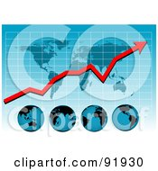 Royalty Free RF Clipart Illustration Of A Blue Graph With A Profit Arrow Map And Globes by tdoes