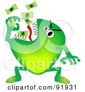 Royalty Free RF Clipart Illustration Of A Green Economy Monster Eating Cash