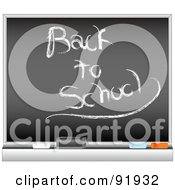 Royalty-Free (RF) Clipart Illustration of a Black Board With Back To School Written by tdoes