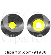 Digital Collage Of Black And Yellow Vinyl Records