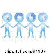 Group Of International Globe Head People Holding Hands