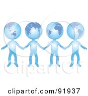 Royalty Free RF Clipart Illustration Of A Group Of International Globe Head People Holding Hands by tdoes