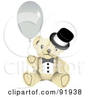 Beige New Year Teddy Bear In A Top Hat Holding A Balloon