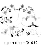 Royalty Free RF Clipart Illustration Of A Digital Collage Of Grayscale Banner And Floral Design Elements by tdoes