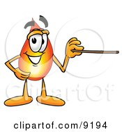 Flame Mascot Cartoon Character Holding A Pointer Stick
