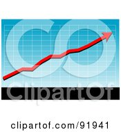 Royalty Free RF Clipart Illustration Of A Blue Graph With A Red Profit Arrow Above Black And White Bars by tdoes